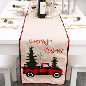 Runner Cotton Linen Cover Xmas Tree Flag Table Dress Tablecloth Eating Mat Christmas Decorations DHB2901