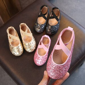 Girls Ballet Flats Baby Dance Party Girls Glitter Children Shoes Gold Bling Princess Shoes 3-12 years Kids Shoes MCH026