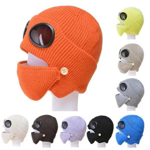 Glasses Woolen Yarn Hats Set Cold Proof Hat Pilot Sunglasses with Masks Ski Hat Winter Keep Warm Knitted Hat Outdoor knitting Cap HHC4189