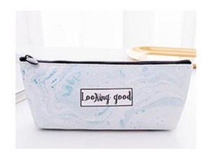Marble Zipper School Pencil Case Large Pu Leather Waterproof Pencil Pouch Bag For Girl Kawaii School Supplies Stationery Product jllNhM