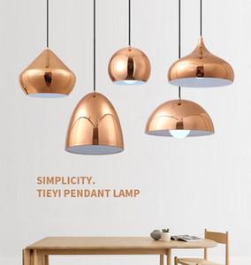 Nordic Simple Electroplated Gold Pendant Lights Restaurant Bar Single-Head Hanging Lights Round Bedroom Dinning Room Droplight