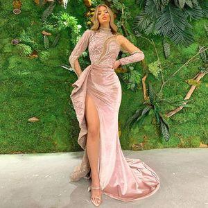2021 Velvet Prom Dress Mermaid High Neck Long Sleeves Beads Lace Side Split Formal Evening Party Wear Custom Size