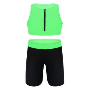Koşu Setleri Yaz 2 adet Kıyafetler Kız Renk Blok Spor Suit Kolsuz Fermuar Tankı Kırpma Üst Spor Şort Nefes Gym Tracksuit1