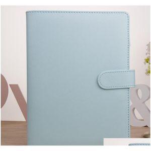 A6 Pu Leather Notebook Binder Bundle 6 Ring Binder Solid Color Planner Office S sqcxoN item_home
