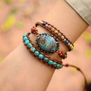 Boho Handmade Ocean Jasper 3X Wrap Bracelet Vintage Jasper Leather Wrap Bracelet Drop Shipping