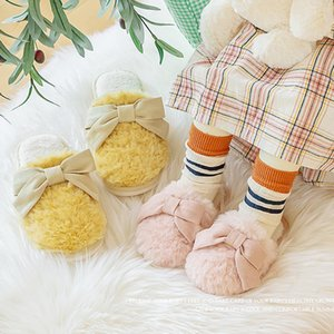 Winter New House Children Slippers Cute Bow-Knot Warm Plush Home Kids Cartoon Shoes Boys Girls Bedroom Slippers Non-slip