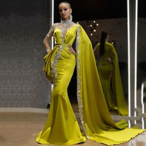 Arabic Dubai Style Unique Design Beads Satin Dress High Neck Sexy Mermaid Evening Dress for Special Occations