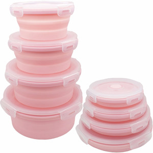 Goldbaking Round Silicone Food Storage Containers Folding Silicone Round Lunch Box Set Collapsible Stackable Lunch Bento Boxes Z1123