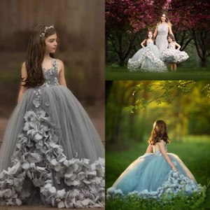 stunning flower girl dresses for wedding spaghetti strap ball gown skirt silver grey tulle girls pageant dresses with hand-made flowers