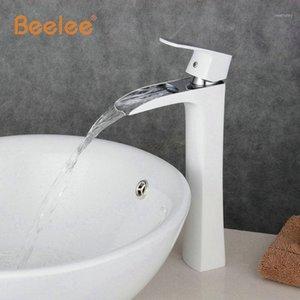 Beelee Neue Ankunft Hoher Wasserfall Weiß Badezimmer Wasserhahn Weiß Gemalt Messing Waschbecken Wasserhaare Schiffe Waschbecken Tap Mixer BL0556WH1