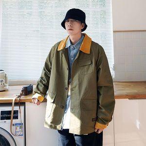 Outono e inverno nova juventude popular homens soltos versão coreana do multi bolso ferramental jaqueta moda casual top m-3xl