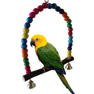 Деревянные птицы качается игрушка с висящими колокольчиками для коктейлей Пакеты Pawate Cage аксессуары Birccage Parrot Parch Stand Play Gym