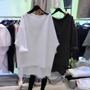 2020 New spring summer Korean Style T Shirt Women Cotton Wild Bat sleeve Leisure loose T shirt Female yy242