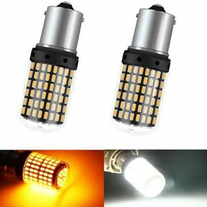 أضواء الطوارئ 2PCS 1156 BA15S P21W LED Canbus Bulbs 3014 144 SMD لا خطأ السيارات سيارة بدوره إشارة ضوء الفرامل مصباح أبيض أصفر فلاش 12V1