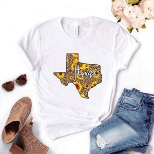 Texas Home Leopard Sunflower Women Tshirt Algodón Casual Funny T Shirt Regalo para Lady Yong Girl Top TEE PM-53