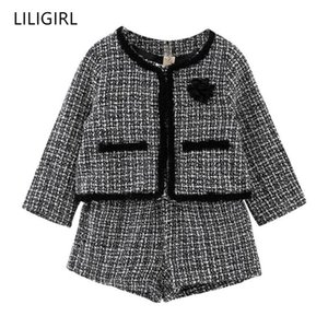 LILIGIRL Kids Girls Temperament Clothing Set 2020 New Plaid Jacket+Shorts 2pcs Suit for Baby Girl Good Quality Tracksuit Costume