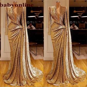 Abiti da ballo con paillettes oro Sexy Sexy Abiti da sera formale a V sexy progettato Arabic Arabic de Soiree Arabia Saudita DEIREE PARTY PARTY Vestidos