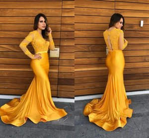 Yellow Lace Mermaid Prom Dresses Sheer Lace V Neck Evening Gowns Formal Party Red Carpet Dresses with Long Sleeves