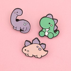 Cute Cartoon Candy Color Dinosaur Brooch Pins Funny Creativity Animal Alloy Enamel Brooches for Children Xmas Gift Badges Bag Shirt Pin 2020