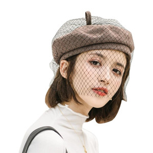 Women Ladies Vintage Elegant Solid Color Beret Cap with Netting Mesh Veil Winter Retro British French Painter Beanie Hat