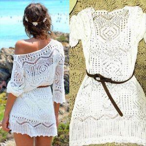 Women Ladies Lace Crochet Casual Dress Summer Clothes Cover Up Swimwear Bathing Suit Summer Swimwear