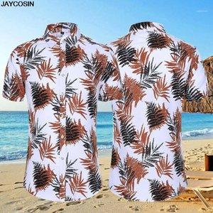 KLV Hombre de manga corta de manga corta casual de lino de algodón impresión hawaiano camisa blusa pareja suelta ajuste hawaii vintage africano print1