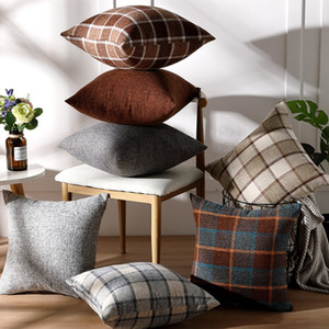 Solid color linen cushion flax pillow cover plain color Plaid sofa pillow case car office waist support cushion cover