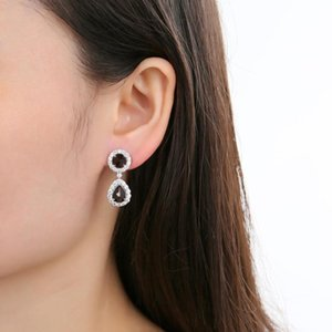 GEM'S BALLET 925 Sterling Silver Elegant Gemstone Earrings Natural Black Garnet Drop Earrings For Women Fine Jewelry