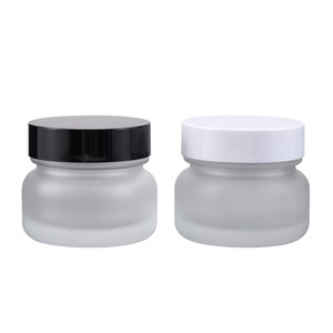 50G Frosted Glass Cream Jar with White Black Cap Empty Cosmetic Face Cream Sample Pots Small Cosmetic Powder Container Packaging Bottle
