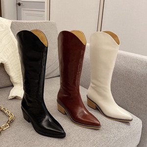 2020 autumn and winter new pointed, high-heeled, thick-heeled zipper, simple leather high boots, very simple and stylish women's shoes.