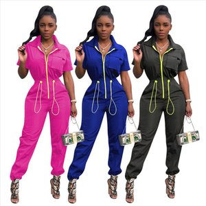 GL Women Winter Jumpsuit Autumn Short Sleeve drawstring Pockets Street Bandage Sexy Night Club Romper Party outfits W8228