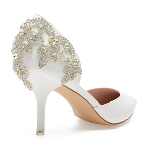 Elegant ivory leather high heels Pointed toe pumps D'orsay bridal wedding evening dress shoes crystal rhinestone back sparkling