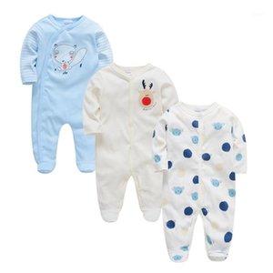 2020 Honeyzone 3 pcs / set baby girl roupas desenhos animados ponto imprimir inverno menino vestuário conjunto ropa de bebê unisex macacões macacões 1