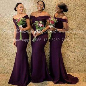 Purple Mermaid Bridesmaid Dresses African Women Off Shoulder Vestidos Long Sweep Train Wedding Party Dress Formal 201113