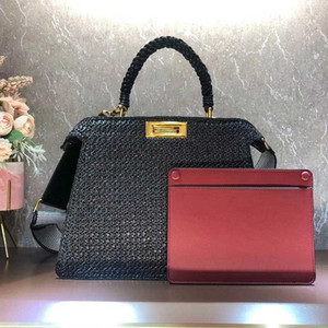 Women Handbag Large Shopping Woven Quality Letter High Straw Plain Out Package Capacity Fashion Style Shoulder Bags Wide Hollow Strap Kqghr