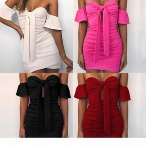 2020 spring and summer new European and American style Solid color bandage tube top sexy bag hip dress