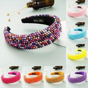 Lüks Bejeweled Yastıklı Bantlar Moda Lüks Inci Boncuk Sünger Hairbands Kadınlar Için Sparkly Yenilik Bantlar Şapkalar