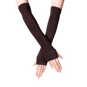 Laamei Fashion Women Lady Striped Elbow Gloves Warmer Knitted Long Fingerless Gloves Elbow Mittens Warm Accessories Gift