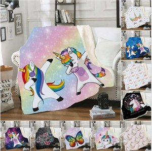 200*150cm Double Layers Blanket Thicken 3D Digital Printing Unicorn Butterfky Blankets Sofa Cover Home Textiles Accessories LJJP813