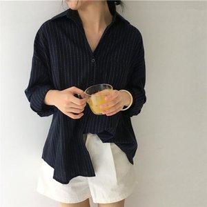 2020 Gaoke Primavera Outono fêmeas shirts Mulheres listradas camisas Lady Escritório Estilo Mulheres luvas longas da forma