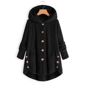 Fashion women's European and American button plush shirt irregular solid color coat1