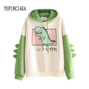 Yupinciaga Bonnet, impression de dinosaures, pull chaud, sweat-shirt en laine épaisse, sweat-shirt coloré avec angle de Harajuku, jeunesse