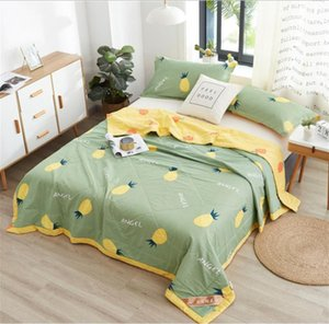 Air Condition Thin Stripe Summer Cool Quilt Single Double Breathable Sofa Office Bed Travel Quilts Throw Blanket
