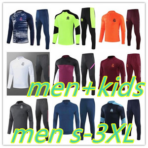 Mens and kids football tracksuit 2020 Real Madrid Marseille men soccer training jogging S-3XL 2021 survetement foot chandal futbol