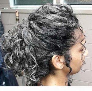 Deep Curly Grey Ponytail Echt Haar Kordelzug Human Hair Silbergrau Frauen Weave Ponytail Verlängerung 120G140G