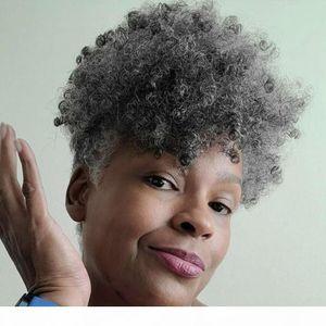 Hot Sale Short Afro Puff Ponytail Grey Hair African American Wrap Black Gray Fake Ponytail With Drawstring Clip Silver Gray Human Hair Bun