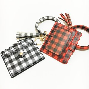 Fashion Leopard Snakeskin Plaid Clutch Big O Wristlet Bracelet Credit Cards Wallet Key ring Tassel Keychain DHB2866