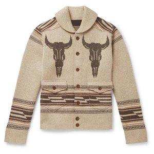 New Spring Autumn Coats Man European American Fashion Jacquard Sweater Men's Casual Outwear Long-sleeved Cardigan Sweaters