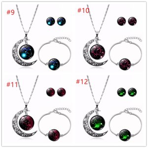 Hot Selling Constellation 12 Zodiac Signs Glass Cabochon Necklace Bracelet Earrings Women 3pcs Jewelry Set Birthday Gifts DHL Free Shipping