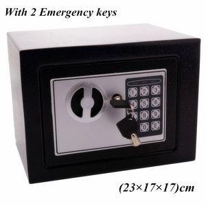 17e Digital Password Electronic Safe Box Keypad Lock Office Hotel Home Использовать пистолет Сталь черный для безопасности Ювелирные изделия Часы Коробка корпуса